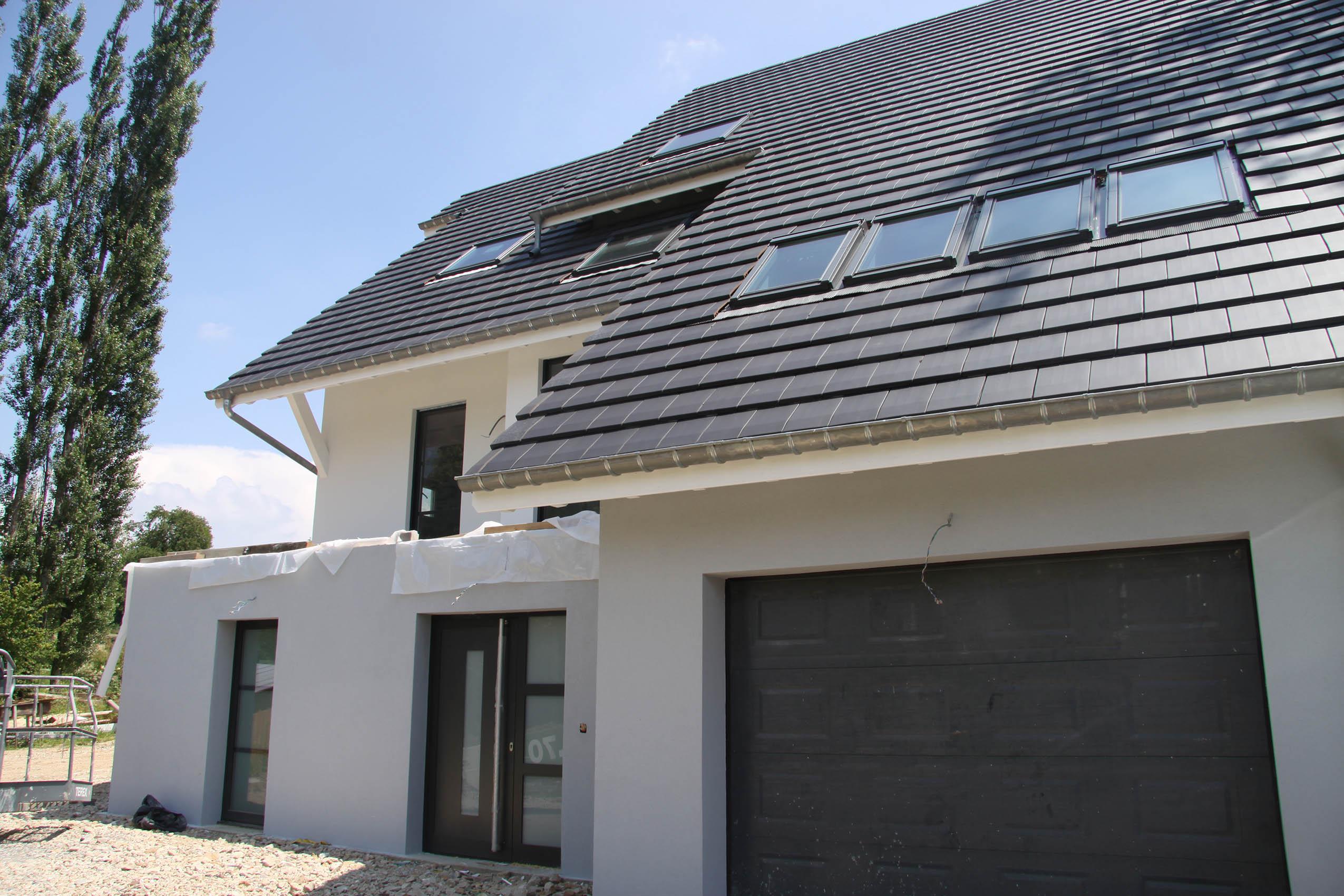 Construction d 39 une maison ossature bois liebsdorf dans for Ossature bois alsace