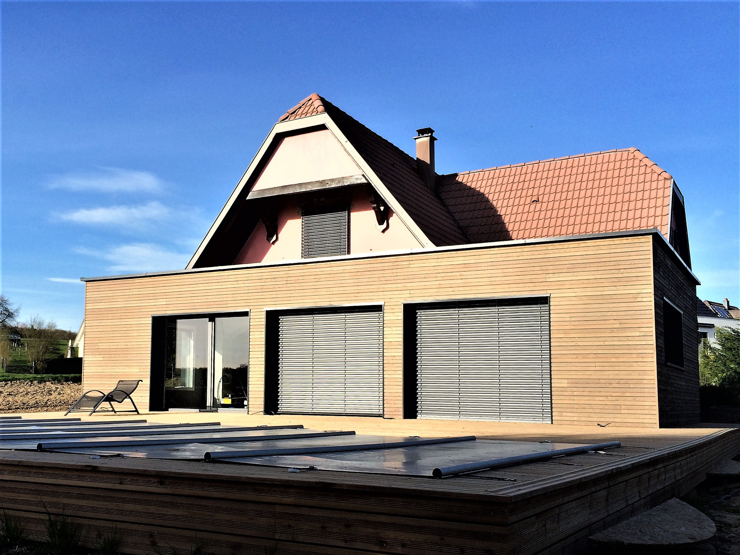 Extension en ossature bois d'une maison à Rantzwiller