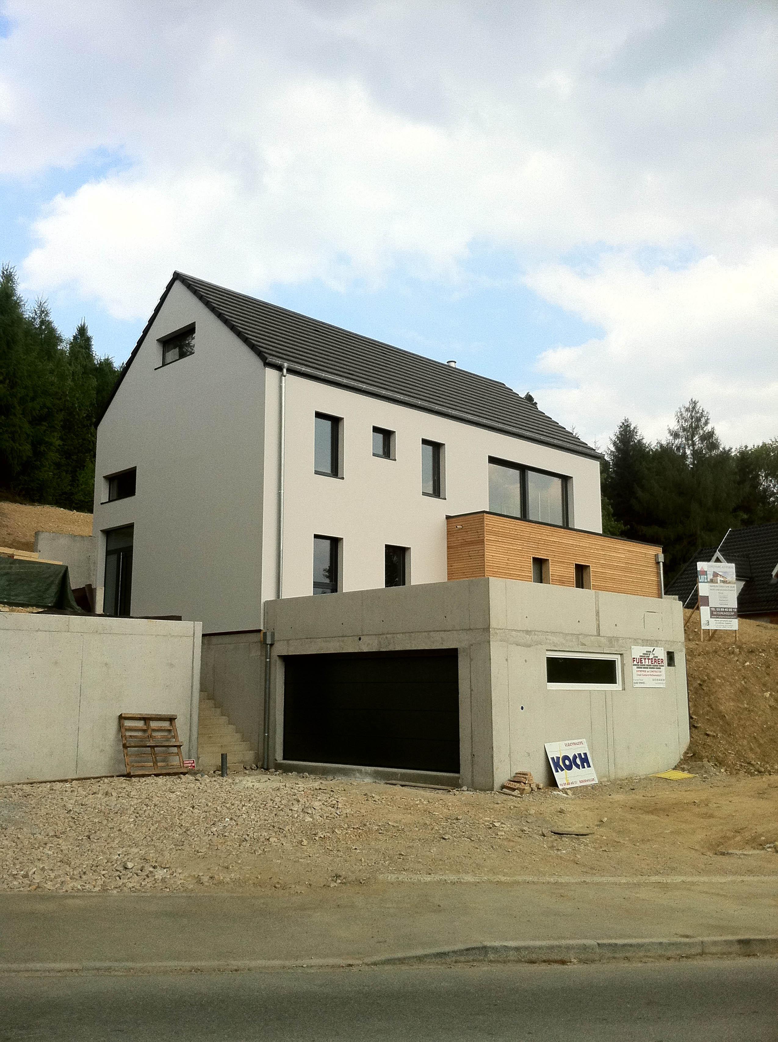 Construction d 39 une maison bois hirsingue en alsace for Ossature bois alsace