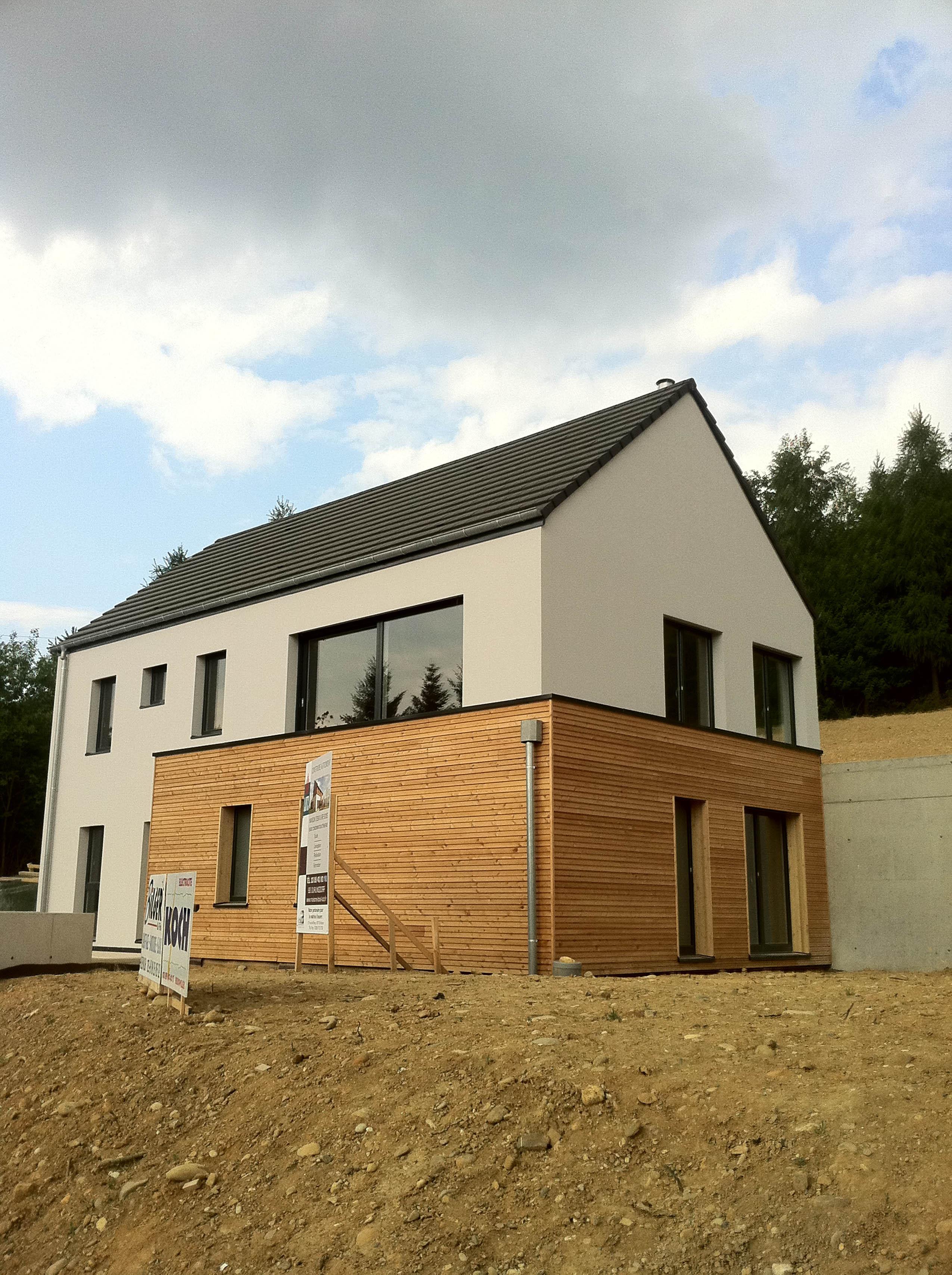 Construction d 39 une maison bois hirsingue en alsace for Maison en bois alsace