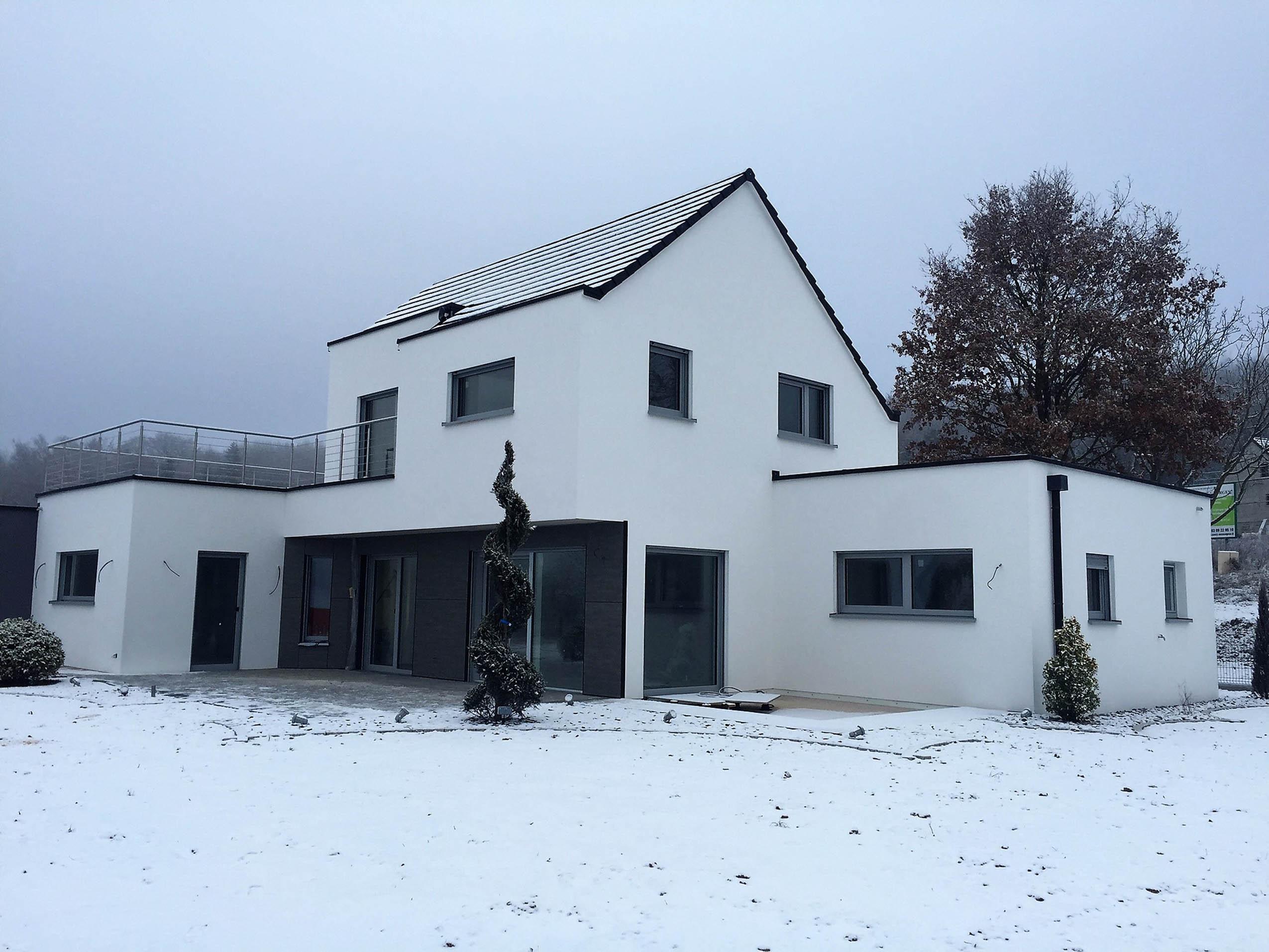 Construction d 39 une maison ossature bois hirsingue en for Ossature bois alsace